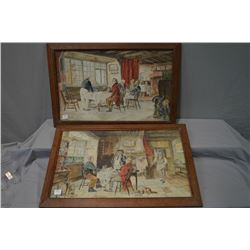 Two antique original framed watercolour paintings featuring scenes of an Inn, no signatures seen, 13