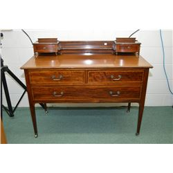 Antique Sheraton bedroom chest with inlaid ribbons on top and drawer fronts includes backboard with