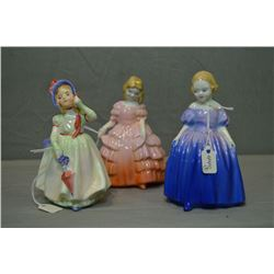 Three small Royal Doulton figurines including Marie HN1370, Babie HN1679 and Rose HN1368