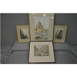 "Four framed prints including two limited edition scenes of historical Paris ""Eglise Notre Dame"" 3/30"