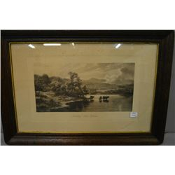 "Two antique etched prints in wooden framed including ""Noonday-Loch Katrine"" and ""Summer in the Highl"