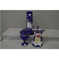 """Hand enamelled cobalt 11 1/2"""" vessel, silver overlay lidded cobalt compote and a unmarked Royal Nipp"""