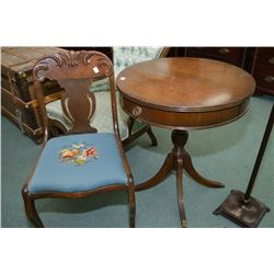 Needlepoint upholstered side chair and a a single drawer, single pedestal Regency style walnut occas