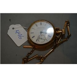 Vintage Elgin Natl. Watch Co. pocket watch in gold filled case with watch chain
