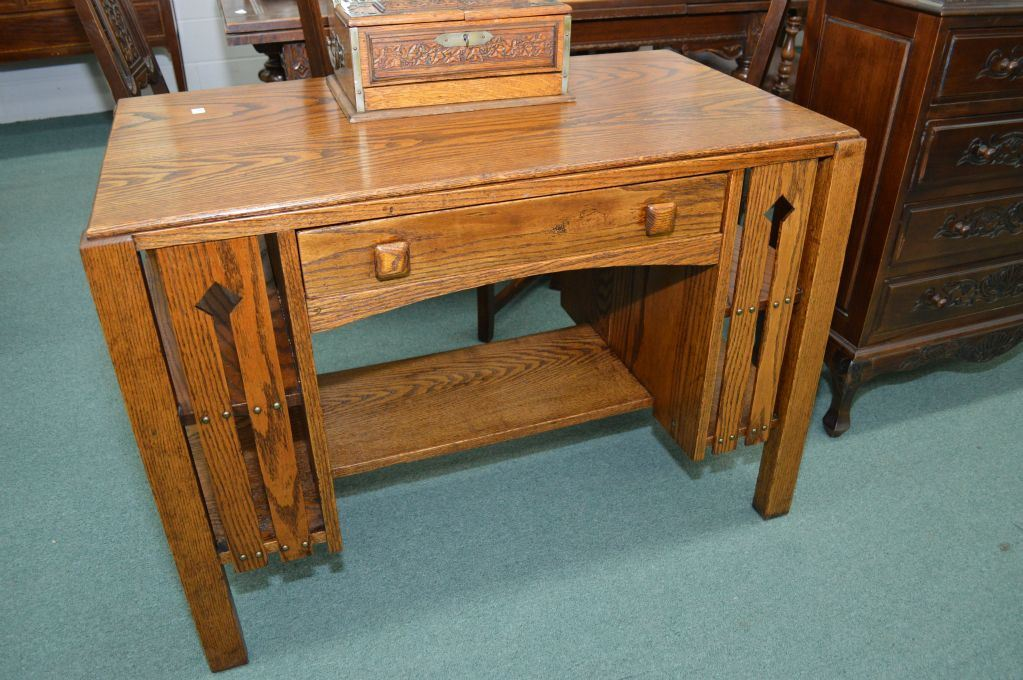 Antique Mission style oak partners desk with under shelf and side book  storage. Loading zoom - Antique Mission Style Oak Partners Desk With Under Shelf And Side