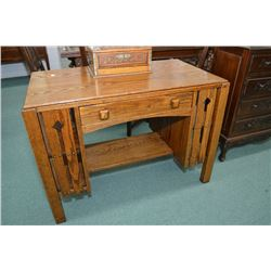 Antique Mission style oak partners desk with under shelf and side book storage