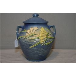 Roseville pottery double handled and lidded cookie jar, 4-8 Freesia pattern