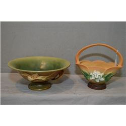 Two pieces of Roseville pottery including 608-8 White Rose handled basket and 8-10 Zephyr lily doubl