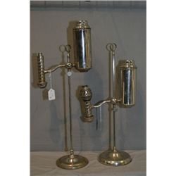 Two vintage chrome fuel fed lanterns, see photo for incomplete burner heads