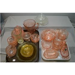 Two trays containing large selection of genuine Depression glass in assorted colours and styles