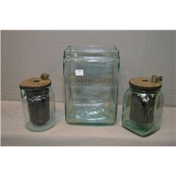 Three vintage glass batteries including Delco-Lite