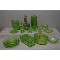 Selection of vintage glass including Uranium reamers, sherbet cups, plus egg whisk, refrigerator box