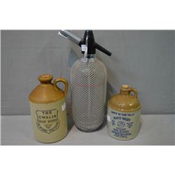 Two small stoneware jugs and a vintage seltzer bottle