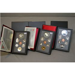 Three cased Canadian double dollar proof sets including 1986, 1991 and 1992