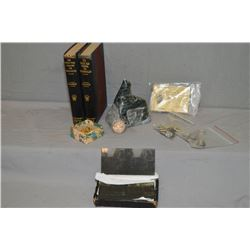 Selection of collectibles including uniform buttons, glass slides with military theme, 1953 Canadian