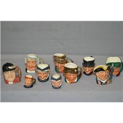 Large selection of small and tiny Royal Doulton character jugs