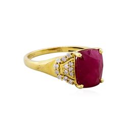 14KT Yellow Gold 4.92ct Ruby and Diamond Ring