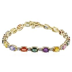 14KT Yellow Gold 13.70ctw Multi Color Sapphire and Diamond Bracelet