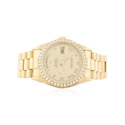 Men's 18KT Yellow Gold Rolex Diamond DayDate Watch Diamond Bezel and Dial