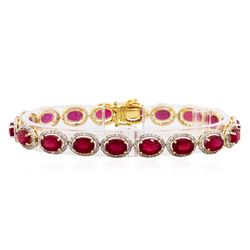 14KT Yellow Gold 22.19ctw Ruby and Diamond Bracelet