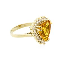 14KT Yellow Gold 4.29ct Citrine and Diamond Ring
