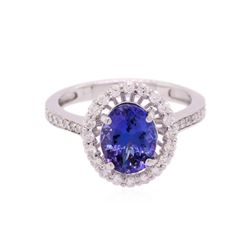 14KT White Gold 2.15ct Tanzanite and Diamond Ring