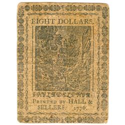 Rare 1776 $8 Continental Currency Note
