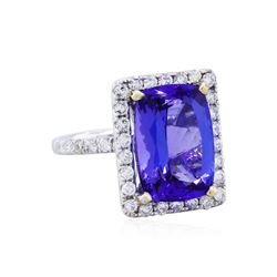 14KT White Gold GIA 9.26ct Tanzanite and Diamond Ring