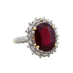 14KT Yellow Gold 7.88ct Ruby and Diamond Ring