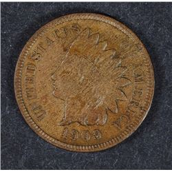 1909-S INDIAN HEAD CENT, AU++ GORGEOUS BROWN COIN