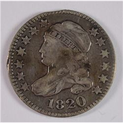 1820 CAPPED BUST DIME, VF CLIPPED PLANCHET, VERY COOL