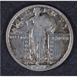1917-D SEATED LIBERTY QUARTER, XF
