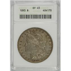 1893 MORGAN DOLLAR ANACS EF-45 OLD SMALL HOLDER