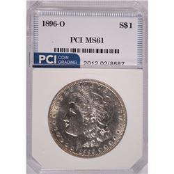 1896-O MORGAN SILVER DOLLAR, PCI  GEM  RARE IN MINT STATE, FROSTY WHITE COIN!