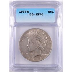1934-S PEACE DOLLAR ICG EF-40
