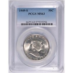 1949-S FRANKLIN HALF DOLLAR, PCGS MS-63