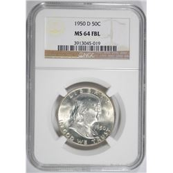 1950-D FRANKLIN HALF DOLLAR NGC MS64 FBL