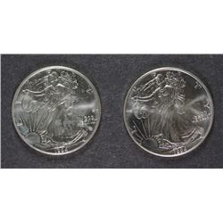 ( 2 ) 1994 AMERICAN SILVER EAGLES  BU  BETTER DATE