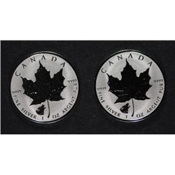 ( 2 ) 2016 REVERSE PROOF CANADIAN SILVER MAPLE LEAF COINS ( WOLF PRIVY )