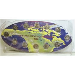 2000 Canada Millennium Coin Collection On Collectors Card