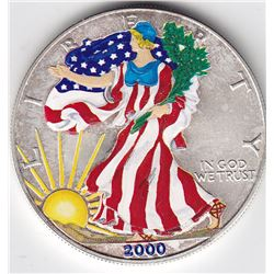 2000 USA Painted Liberty 1 Oz Fine Silver Round