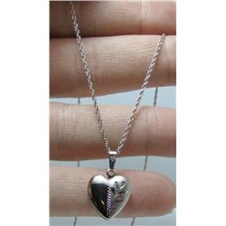 "Small Sterling Silver Heart Shaped Locket On 17"" Chain"