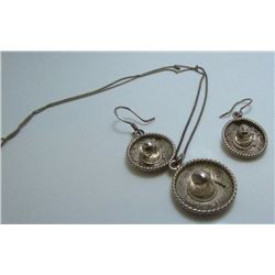 Sterling Silver Sombraro Necklace & Earring Set - 10.8 Grams