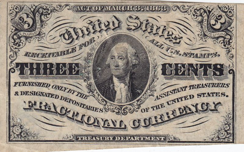 Image 1 1863 Usa 3 Cent Bank Note Postage Stamp