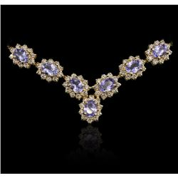 14KT Yellow Gold 24.95ctw Tanzanite and Diamond Necklace
