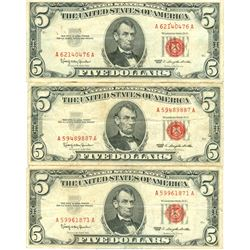 1963 $5 Red Seal Bill Lot of 3