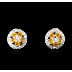 18KT White Gold 1.90ctw Yellow Sapphire and Diamond Earrings