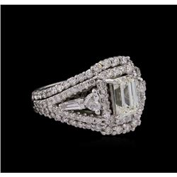 14KT White Gold EGL USA Certified 2.92ctw Diamond Ring