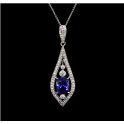 4.00ct Tanzanite and Diamond Pendant With Chain - 18KT White Gold