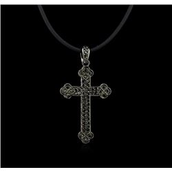 0.45ctw Black Diamond Pendant and Rubber Cord - 18KT White Gold